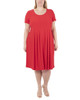 Plus Size Cap Sleeve Allover Pleated Dress~Tulip Red*WITD3903