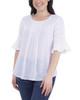 Pleated Bell Sleeve Crochet Trim Top~White Mixcombo*MRJU0678