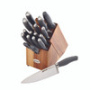 Anolon SureGrip 17-Piece Japanese Stainless Steel Knife Block Set - Gray~50207