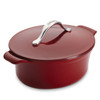 Anolon Vesta Cast Iron Cookware 4-Quart Oval Covered Casserole - Paprika Red~51819
