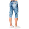 "Level 7 Men's Cargo Pocket Premium Knit Denim 18"" Jogger Capri Shorts with Distressed Cloud Bleach Wash~LV151552-2717SEABRZ"
