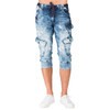 "Level 7 Men's Cargo Pocket Premium Knit Denim 18"" Jogger Capri Shorts with Distressed Cloud Bleach Wash~LV151552-2717SEABRZ"