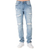 Level 7 Men's Distressed Powder Blue Slim Tapered Leg Premium Denim Jeans with Distressing~LV165504-2912SPECIALK