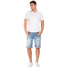 Level 7 Men's Light Blue Relaxed Premium Denim Cut Off Shorts with Distressed Mended Raw Edge~LV165554-2912SPECIALK