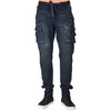 Level 7 Men's Midnight Vintage Premium Knit Denim Jogger Jeans with Utility Cargo Zipper Pockets~LV141771-2296MIDNIGHT
