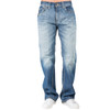 Level 7 Men's Relaxed Bootcut Premium Medium Blue Wash Denim Jeans with Whiskering~LV115198-327BLUEBOY