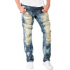 Level 7 Men's Slim Straight Premium Denim Tainted Front Cargo Pocket Jeans with Distressing~LV175558-2830NOMADIC