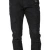 Level 7 Men's Slim Tapered Leg Overdyed Black Premium Denim Jeans with Mended Broken Holes~LV165504-2947PNUMBRA