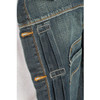 Level 7 Men's Vintage Blue Premium Denim Trucker Jacket with Whiskering - Artisan Wash~LV125082-1249STONED