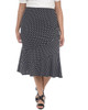 Plus Size Elastic Waistband Diagonal Seam Skirt~Black Domino*WITK0818