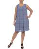 Plus Size Chevron Print Split-Back Necklace Shift Dress~Blue Gemwave*WCRD0078
