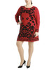Plus Size Floral Print Long Sleeve Sweater Dress~Helena*ZSOD0219