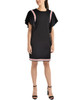Flounce Sleeve Racing Stripe Dress~Jet*MCSD0016