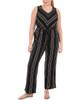Plus Size Sleeveless Tie Waist Jumpsuit~Noir Byeline*WITU5904