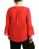 Plus Size Bell Sleeve Pointed High-Low Top~Red Mercury*ZDOU1427