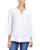 Petite 3/4 Sleeve Lace Trim Button Down Blouse~White Chiclily*PRJB0378