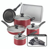 Farberware Dishwasher Safe Nonstick 15-Piece Cookware Set - Red~21807