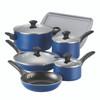 Farberware Dishwasher Safe Nonstick Aluminum 15-Piece Cookware Set - Blue~21891