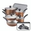 Farberware Dishwasher Safe Nonstick Aluminum 15-Piece Cookware Set - Copper~21890