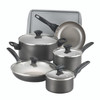 Farberware Dishwasher Safe Nonstick Aluminum 15-Piece Cookware Set - Pewter~21896