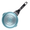 Farberware Dishwasher Safe Nonstick Aluminum 1-Quart Covered Straining Sauce Pan with Pour Spouts - Aqua~21945