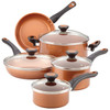 Farberware Glide Copper Ceramic Nonstick 12-Piece Cookware Set - Copper~10658