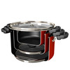 Farberware Neat Nest Space Saving Aluminum Nonstick 6-Quart Covered Sauce Pot - Red~20459