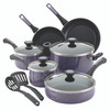 Paula Deen Riverbend Aluminum Nonstick 12-Piece Cookware Set - Lavender Speckle~16986