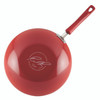 Rachael Ray Classic Brights Aluminum Nonstick 11-inch Stir Fry Pan with Glass Lid - Red Gradient Hard Enamel~17649