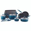 Rachael Ray Classic Brights Hard Enamel Nonstick 14-Piece Cookware Set - Marine Blue~17626