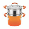 Rachael Ray Classic Brights Hard Enamel Nonstick 3-Quart Covered Steamer Set - Orange Gradient~14481