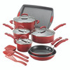 Rachael Ray Classic Brights Hard Porcelain Enamel Nonstick 14-Piece Cookware Set - Red Gradient~14267