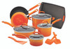 Rachael Ray Classic Brights Porcelain Nonstick 14-Piece Cookware Set with Bakeware and Tools - Gradient Orange~12946