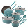 Rachael Ray Cucina Hard Porcelain Enamel Nonstick 12-Piece Cookware Set - Agave Blue~16344