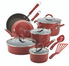Rachael Ray Cucina Hard Porcelain Enamel Nonstick 12-Piece Cookware Set - Cranberry Red~16339