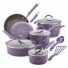Rachael Ray Cucina Hard Porcelain Enamel Nonstick 12-Piece Cookware Set - Lavender Purple~16783