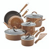 Rachael Ray Cucina Hard Porcelain Enamel Nonstick 12-Piece Cookware Set - Mushroom Brown~16333