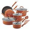 Rachael Ray Cucina Hard Porcelain Enamel Nonstick 12-Piece Cookware Set - Pumpkin Orange~16328