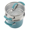 Rachael Ray Cucina Hard Porcelain Enamel Nonstick 3-Quart Multi-Pot/Steamer Set - Agave Blue~16799