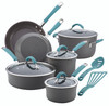 Rachael Ray Cucina Hard-Anodized Aluminum Nonstick 12-Piece Cookware Set - Gray with Agave Blue Handles~87641