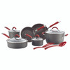 Rachael Ray Cucina Hard-Anodized Aluminum Nonstick 12-Piece Cookware Set - Gray with Cranberry Red Handles~87630