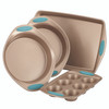 Rachael Ray Cucina Nonstick 4-Piece Bakeware Set - Latte Brown with Agave Blue Handle Grips~52389