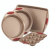 Rachael Ray Cucina Nonstick 4-Piece Bakeware Set - Latte Brown with Cranberry Red Handle Grips~52386
