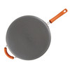 Rachael Ray Hard-Anodized Nonstick 14-inch Skillet with Helper Handle - Gray with Orange Handle~87597
