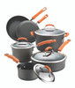 Rachael Ray Hard-Anodized Nonstick 10-Piece Cookware Set - Gray with Orange Handles~87375