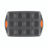 Rachael Ray Yum-o! Nonstick 12-Cup Oven Lovin' Muffin and Cupcake Pan - Gray with Orange Handles~54075