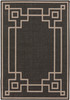 Alfresco Indoor Outdoor Greek Key Black and Cream Rug~ALF9630