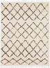 Berber Shag Tribal Diamond Charcoal Gray and Beige Rug~BBE2300