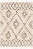 Berber Shag Tribal Open Diamond Charcoal Gray and Beige Rug~BBE2305