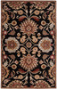 Caesar Classic Floral Hand Tufted Black Wool Rug~CAE1053